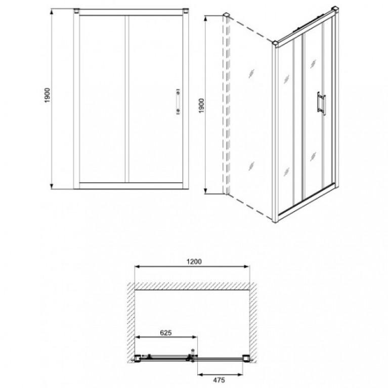 GEO 6 двери раздвижные 120 см, закаленное стекло PRISMATIC, серебряный блеск (кабина состоит из частей 1/2 +2/2) GDRS12205003(A+B), фото 2