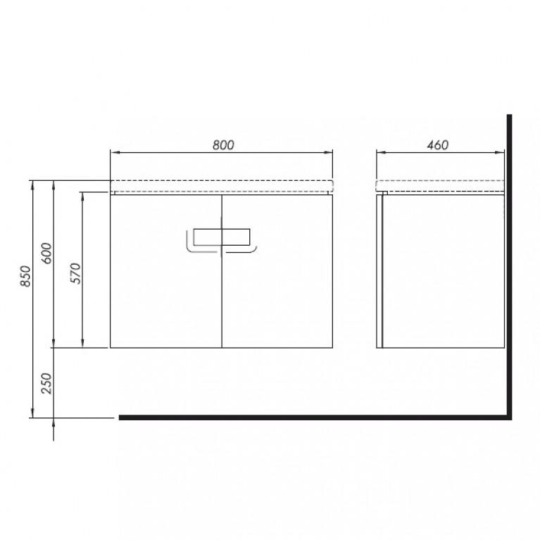 TWINS шкафчик под умывальник 80 см с дверцей, белый глянец 89547000, фото 2