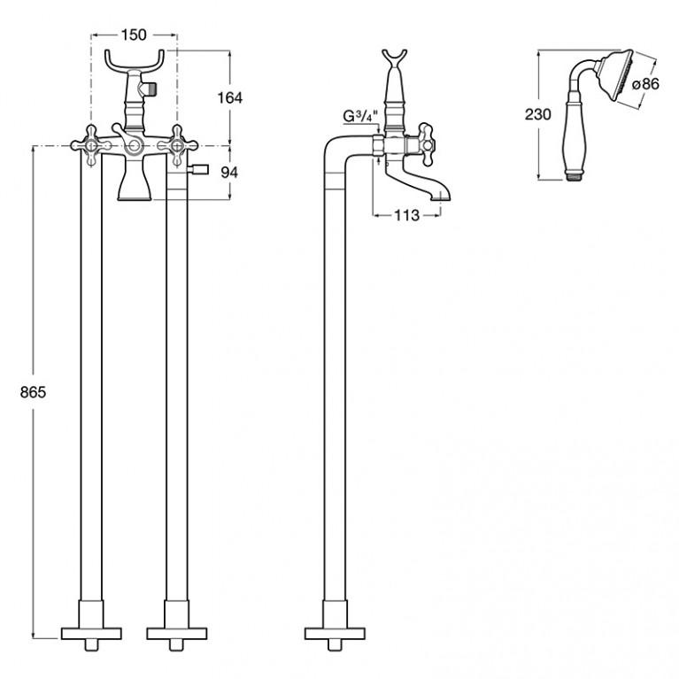 CARMEN смеситель ванна/душ 2х вентильный, отдельностоячий, монтируется на полу, с душевым набором в комплекте A5A274BC00, фото 2