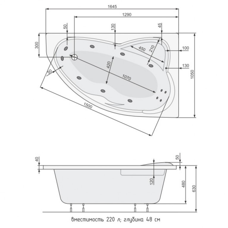 EUROPA ванна+рама 165*105 правая PWA4610ZS000000, фото 2