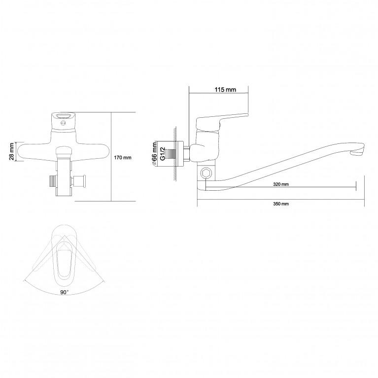 NARCIZ смеситель для ванны однорычажный, S-излив 350 мм, хром  40мм RBZ100-9A, фото 2