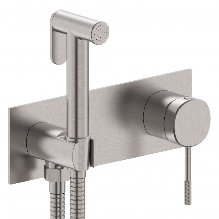 Набор IMPRESE BRENTA: смеситель скрытого монтажа с гигиеническим душем, никель