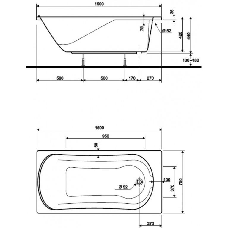 COMFORT ванна прямоугольная 150*75 см, с ножками SN7 XWP3050000, фото 2