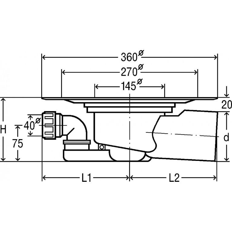Advantix Базовый элемент напольного трапа (285043) 285043, фото 2