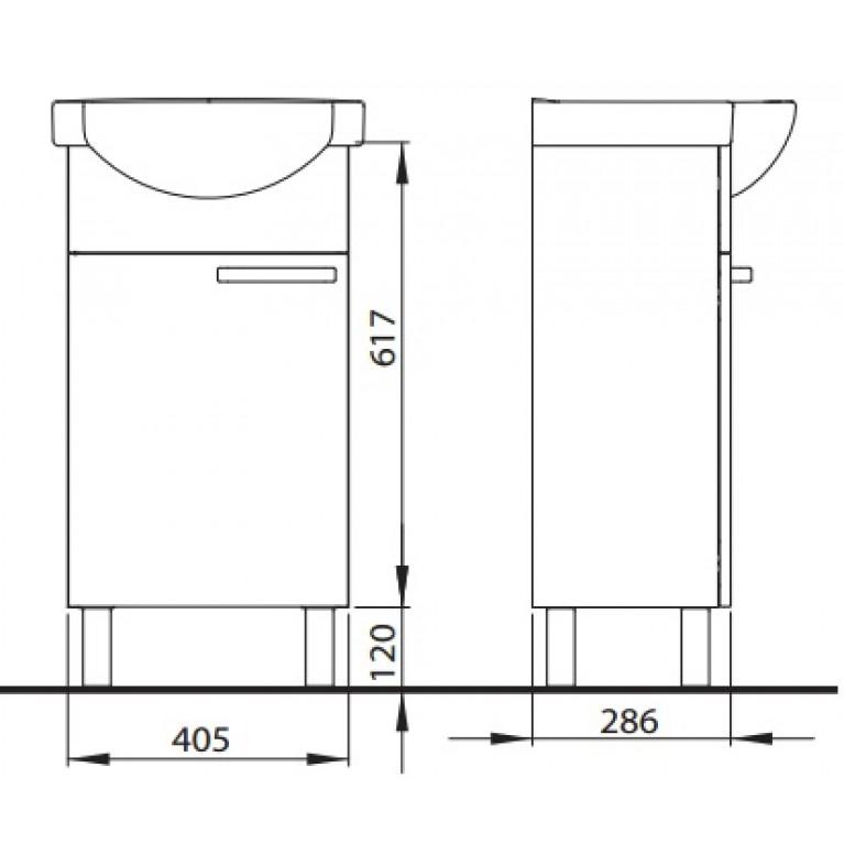 FREJA тумба под мебельный умывальник 45 см, белый глянец 89473001, фото 2