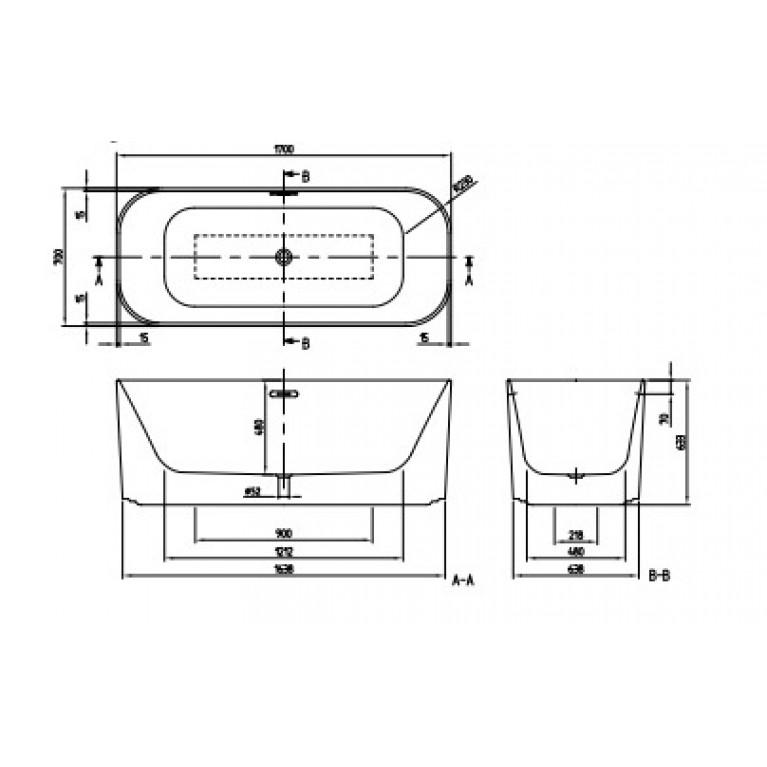 FINION ванна 170*70см, отдельностоящая, бесшовная, оснащение хром, ф-ии Emotion и ViSound, кольцо Design, цвет RAL9011, матовое покрытие (по запросу!), фото 2