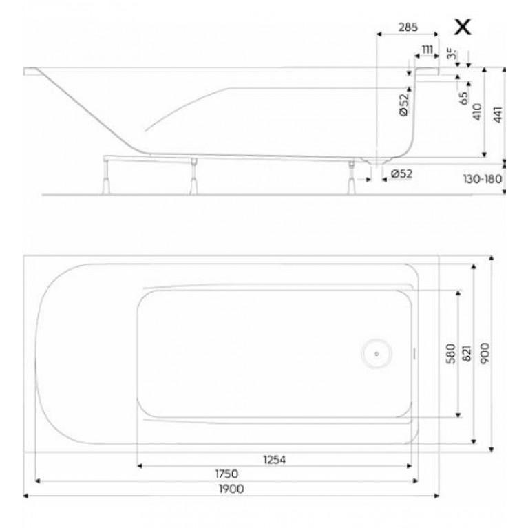 COMFORT PLUS ванна 190*90см, прямоугольная, с ножками (пол.) XWP1490000, фото 2
