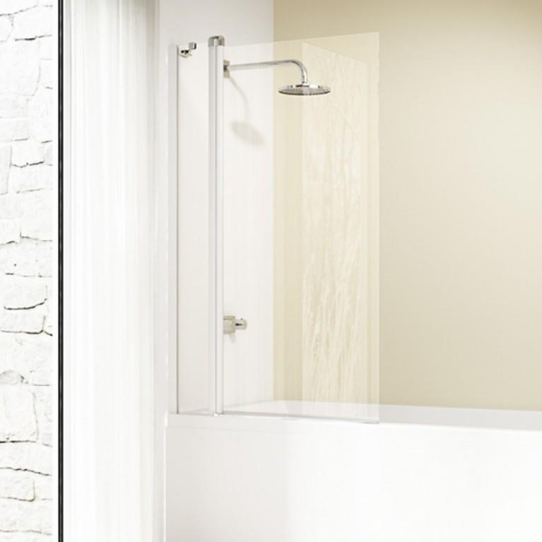 DESIGN ELEGANCE штора  2-х панельная на ванну 96,5*150см (проф белый, стекло  прозр Antiplaque)