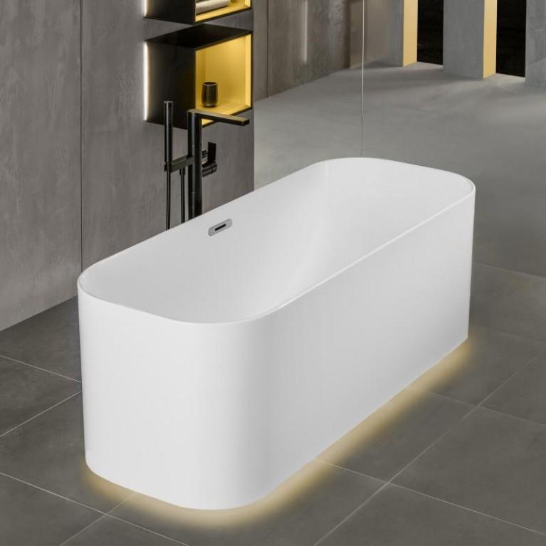 FINION ванна 170*70см, бесшовная,  отдельностоящая, оснащение хром, ф-я Emotion, Design ring, цвет ванны - белый альпин, фото 2