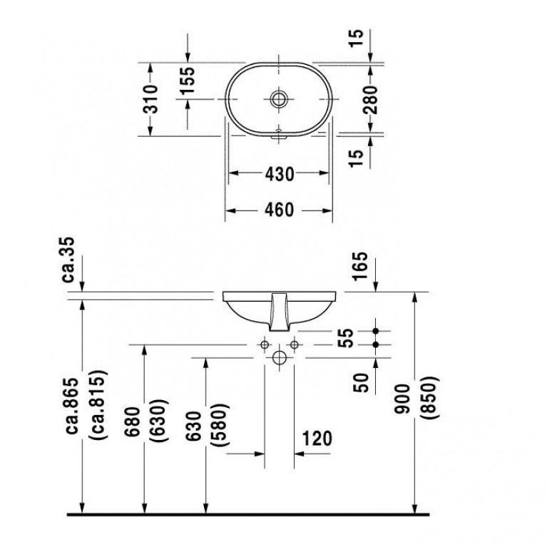 FOSTER умывальник 43*28см, для встраивания снизу, с переливом, без площадки под смеситель 0336430000, фото 2