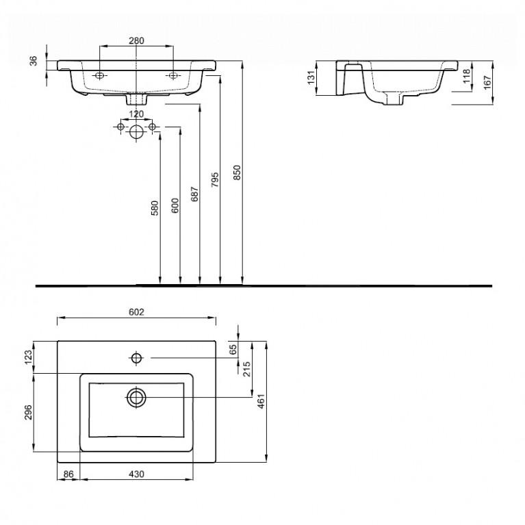 TWINS умывальник 60см, мебельный, с тонким бортом L51960000, фото 2