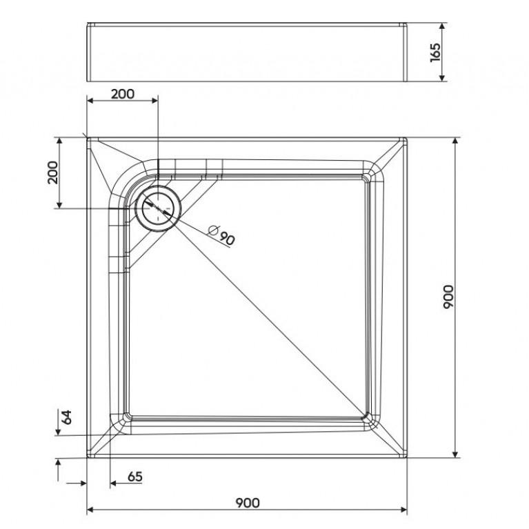 FIRST поддон 90*90см, квадратный, с интегрированной панелью и ножками XBK1690000, фото 2