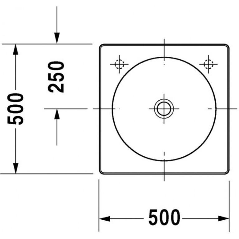 ARCHITEC умывальник 50*50см, с отверстием под смеситель справа, без перелива, шлифованный вариант 0320500008, фото 2