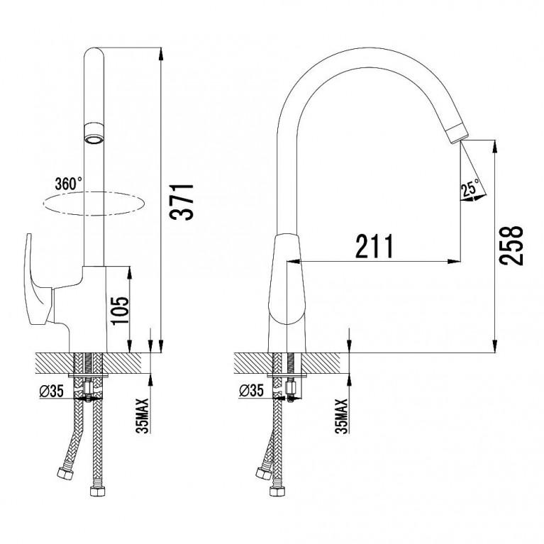 JESENIK смеситель для кухни, хром, 35 мм 55140, фото 2