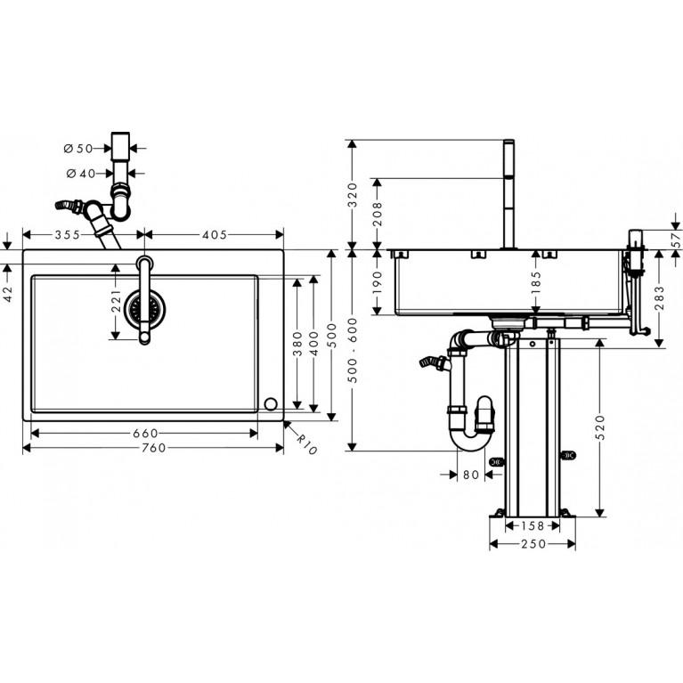 C71-F660-08 Мойка для кухни со смесителем, однорычажным 43202000, фото 2
