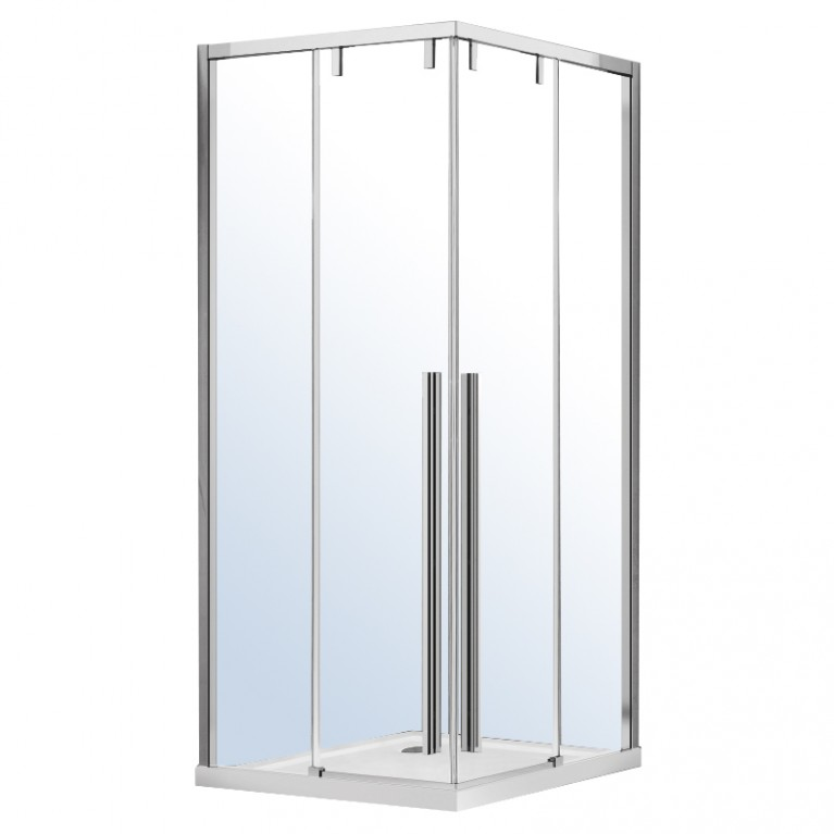 AIVA душевая кабина квадратная 100*100*195см, раздвижные двери, прозрачное стекло 8мм, хром, без поддона
