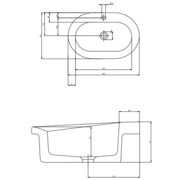 COCKTAIL умывальник встраиваемый 65*42 см (пол.) L31865000, фото 2