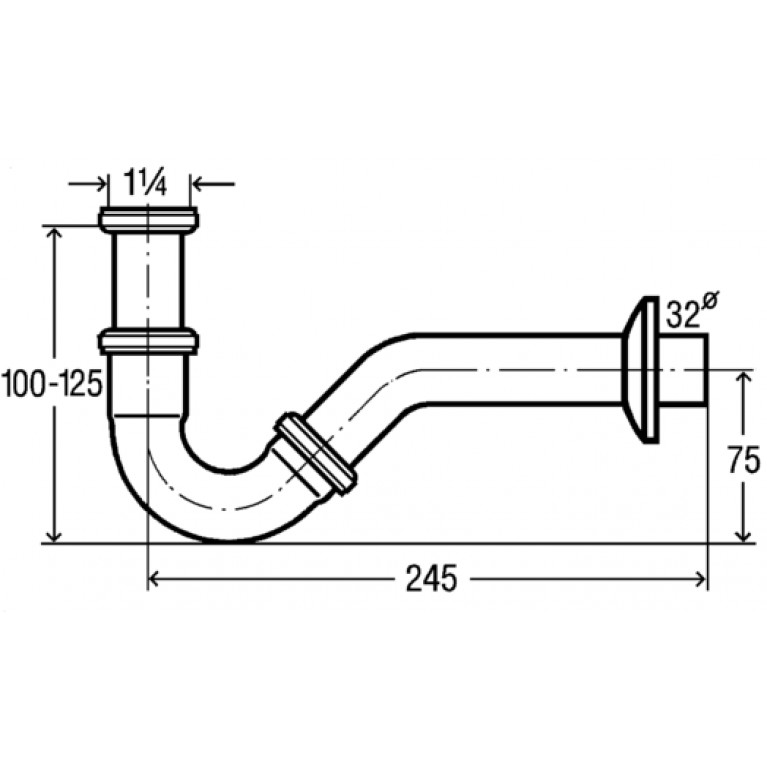 Сифон трубный для биде 1 1/4, хром (103781) 103781, фото 2