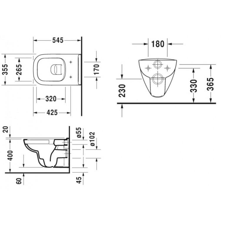 D-CODE унитаз 35,5*54,5см, подвесной, Rimless, с вертикальным смывом 25700900002, фото 3