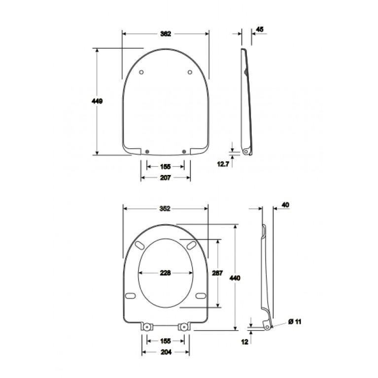 NOVA PRO сиденье с крышкой твердое, овальное, из материала Duroplast Soft Close M30112000