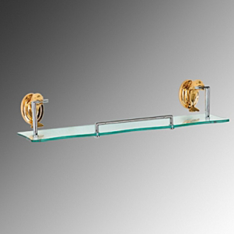 Дельфин золото полочка стекло под зеркало(хром/золото)