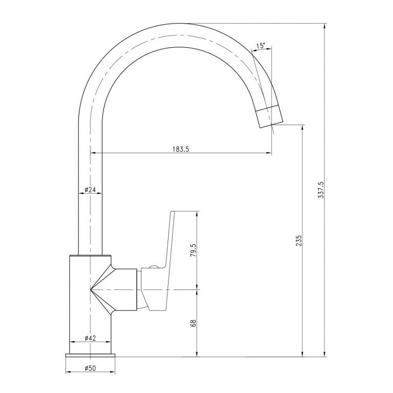 LESNA смеситель для кухни, хром, 35мм 55070