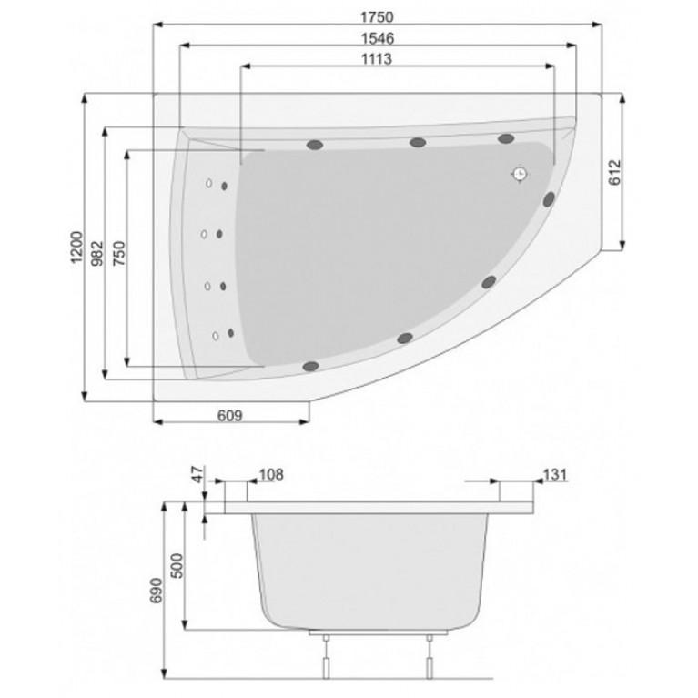 AQUAMARINA ванна 175*100см, правая, с ножками PWAI510ZN000000, фото 2