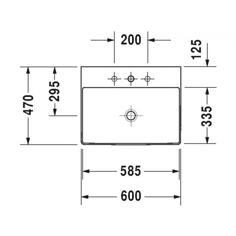 DURASQUARE умывальник 60*47см, без перелива, с 1м отв. под смеситель 2353600071, фото 2