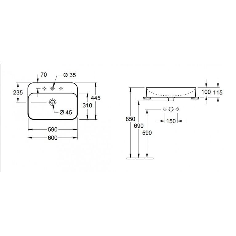 FINION умывальник 60*44,5см на столешницу, для 3- поз.смесителя, центр.отв.выбито, перелив, белый альпин CeramicPlus 414260R1, фото 2
