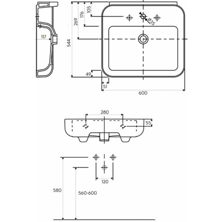 EGO умывальник с отверстием, с переливом 60*54,4*11,7 см (пол.) K11162000, фото 2