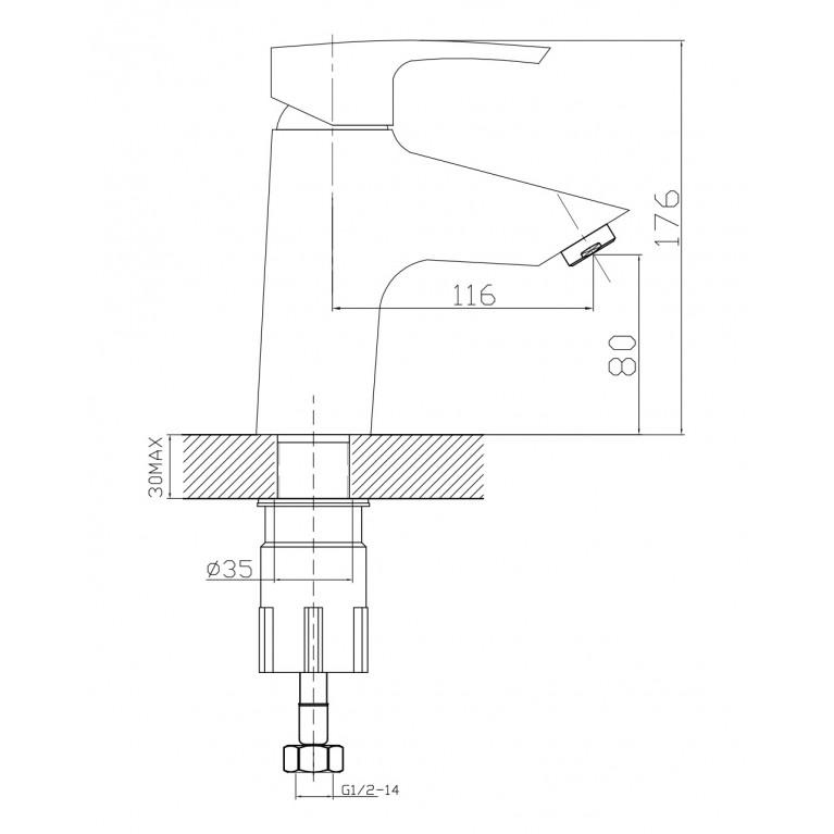 HORAK смеситель для раковины, хром, 40 мм 05170, фото 2