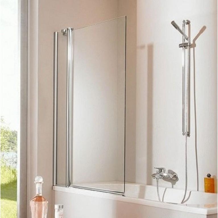 DESIGN PURE шторка для ванны, 155*150см, профиль мат. сер., стекло с Anti-Plaque + Bubbles, односекц.с неподвижн.сегментом, фото 1