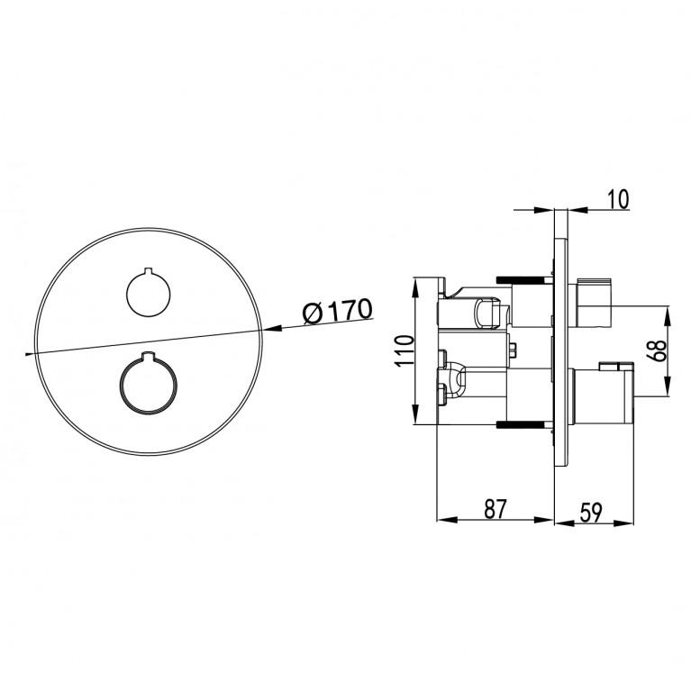 CENTRUM смеситель для ванны, термостат, скрытый монтаж (1 потребитель), форма R VRB-15400Z, фото 3
