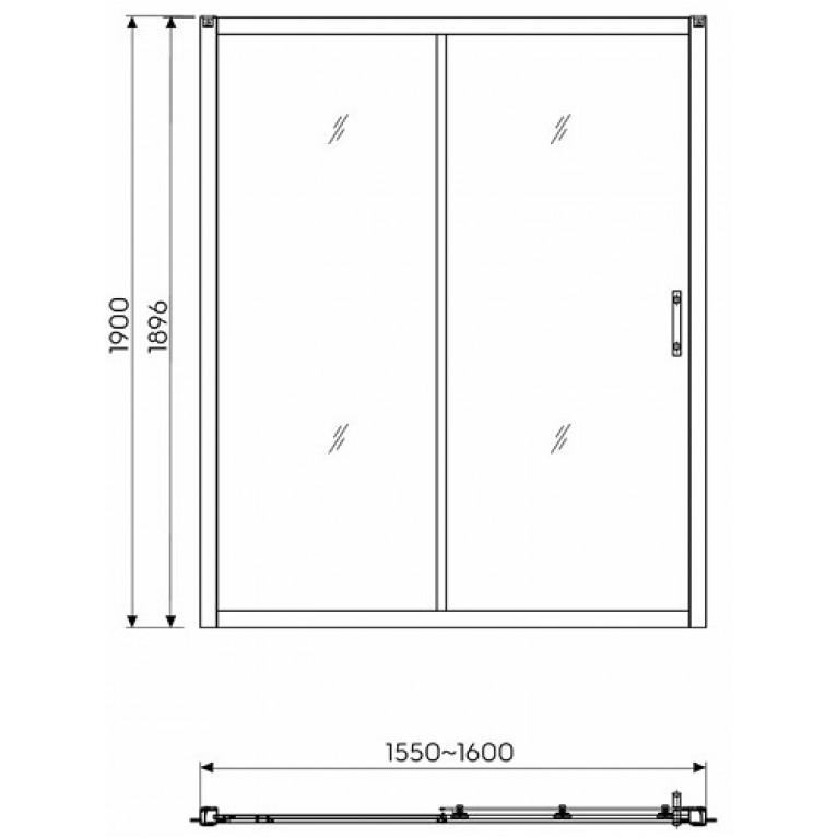 GEO 6 двери раздвижные 2-элементные 160 см, закаленное стекло, серебряный блеск (кабина состоит из частей 1/2 +2/2) GDRS16222003, фото 2