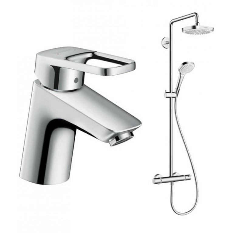 Купить Croma Select E 180 2jet Showerpipe Душевая система + Logis Loop 70 Смеситель для раковины, однорычажный со сливным гарнитуром, хром у официального дилера HANSGROHE в Украине