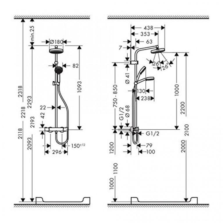 Showerpipe MyClub 180 Душевая система, с термостатом EcoSmart 26738400