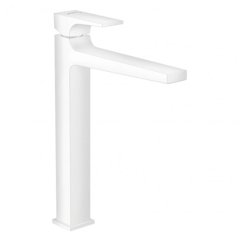 Metropol Смеситель для раковины 260, однорычажный, со сливным клапаном Push-Open, для раковины в форме таза, матовый белый