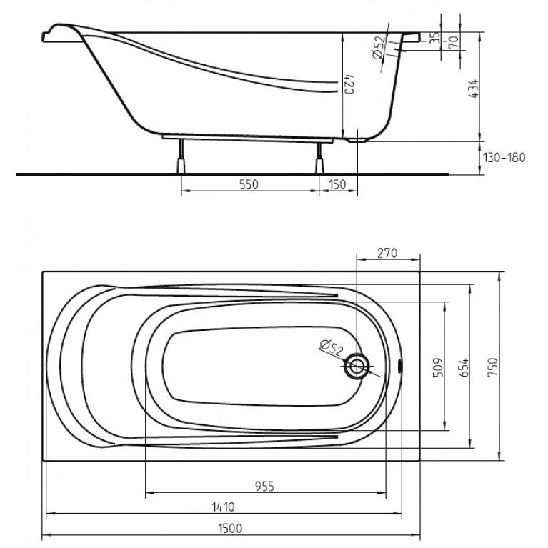 SAGA ванна прямоугольная 150*75 см с ножками SN0 и элементами крепления XWP3850000, фото 2