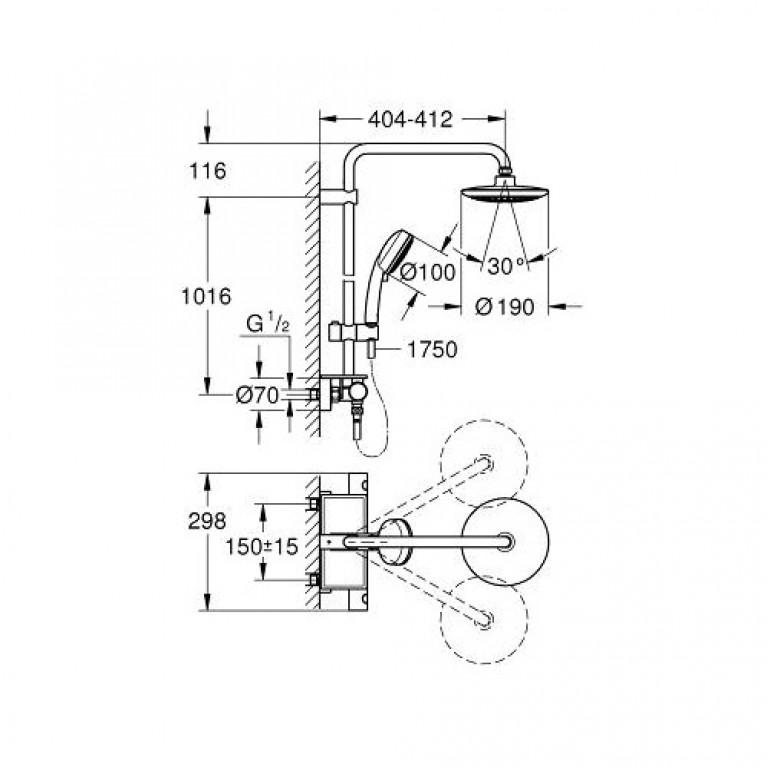 Euphoria Душевая система с термостатом для настенного монтажа 26249000, фото 2