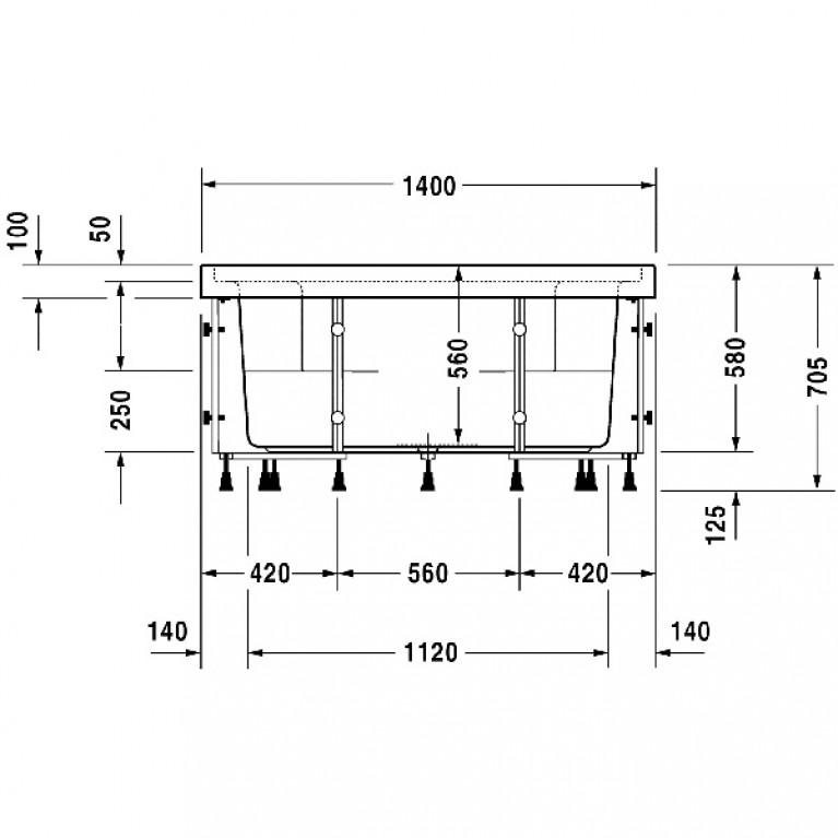 BLUE MOON ванна 140*140см, с системой гидромассажа Combi-System E, встраиваемая версия или версия с панелями, вкл. ножки, с переливом 760143000CE1000, фото 3