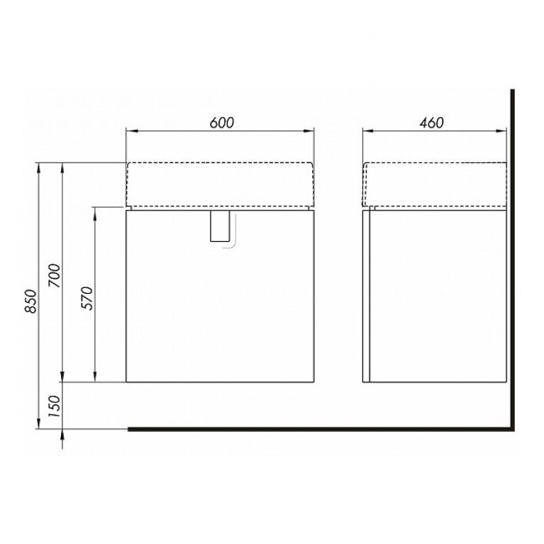 TWINS шкафчик под умывальник 60 см с одним ящиком, белый глянец 89498000