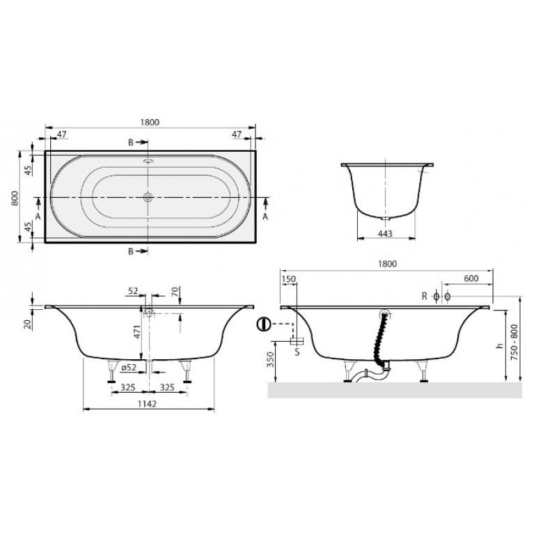CETUS DUO ванна 180*80см с ножками BQ180CEU2V-01, фото 2