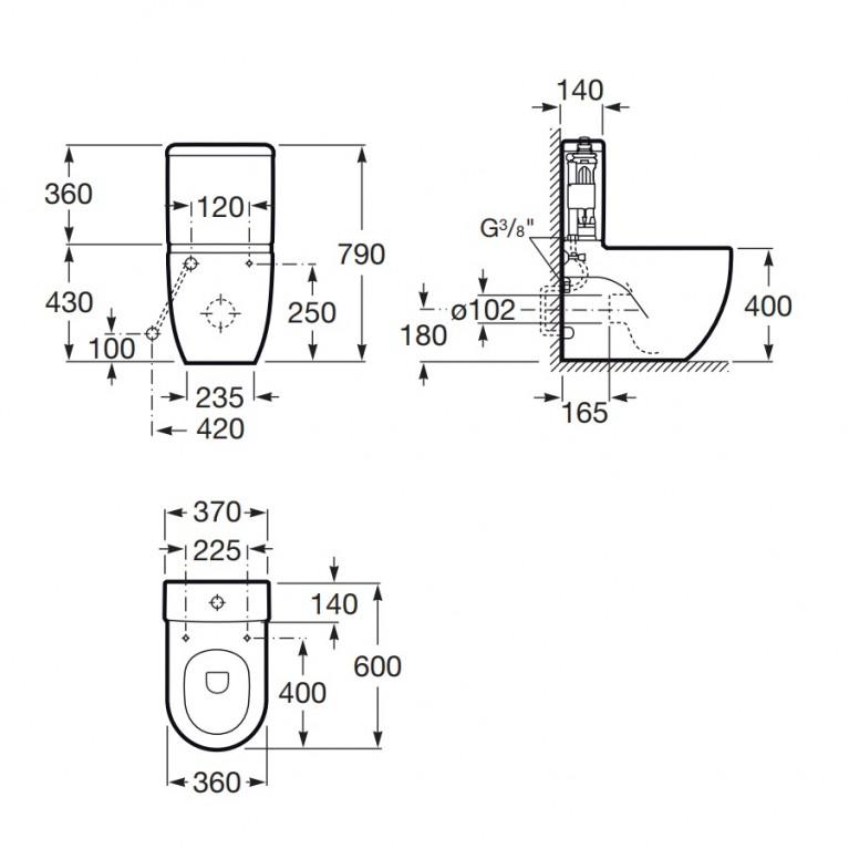 MERIDIAN-N бачок пристенного унитаза 3/4,5 л (в уп. ) A341242000, фото 2