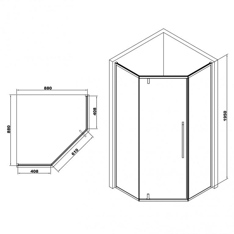 A LÁNY Душевая кабина пятиугольная, реверсивная  900*900*1950 мм(стекла + двери) , дверь распашная, стекло прозрачное  6 мм, профиль хром 599-552/1, фото 2