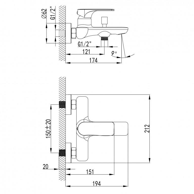 BILINA смеситель для ванны, хром 35мм 10225, фото 2