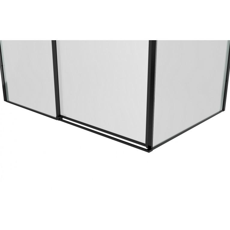 A LÁNY Душевая кабина квадратная 900*900*1950 (стекла+двери), двери раздвижные, стекло прозрачное  6 мм, профиль черный 599-551/1 Black, фото 5