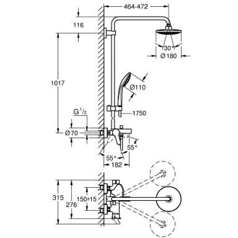 Euphoria System 180 Душевая система со смесителем для ванны, однорычажным, настенный монтаж 26320000, фото 2