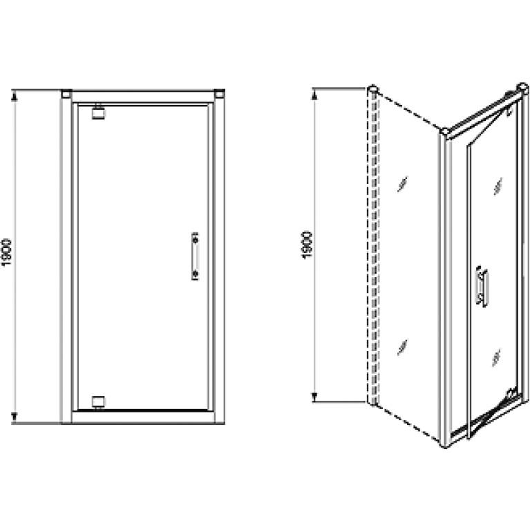 GEO 6 двери pivot, 80 см, для комплектации с боковой стенкой GEO 6 профиль серебряный блеск, фото 2