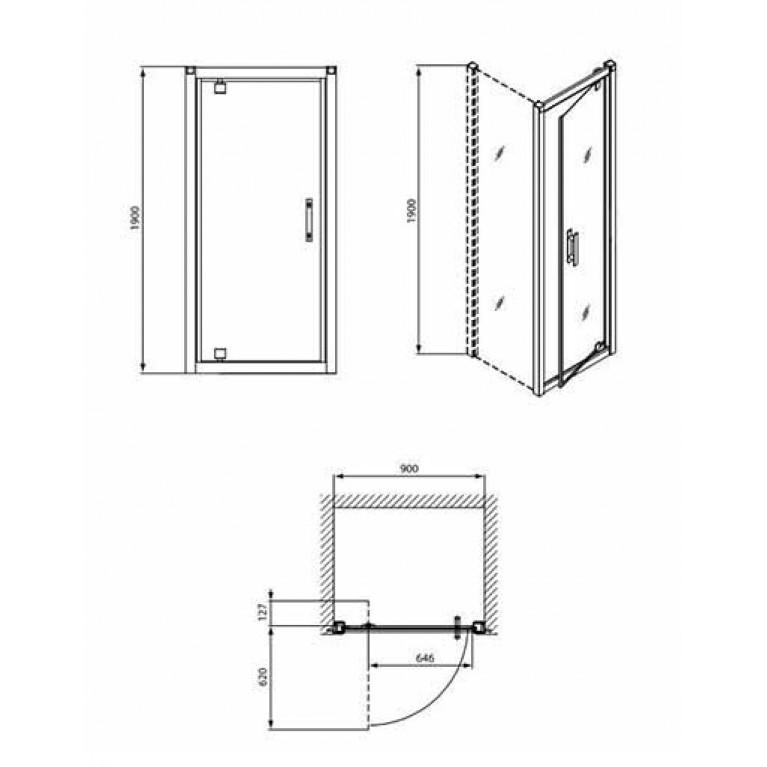 GEO 6 двери pivot 90см, закаленное стекло PRISMATIC, серебристый блеск GDRP90205003, фото 2
