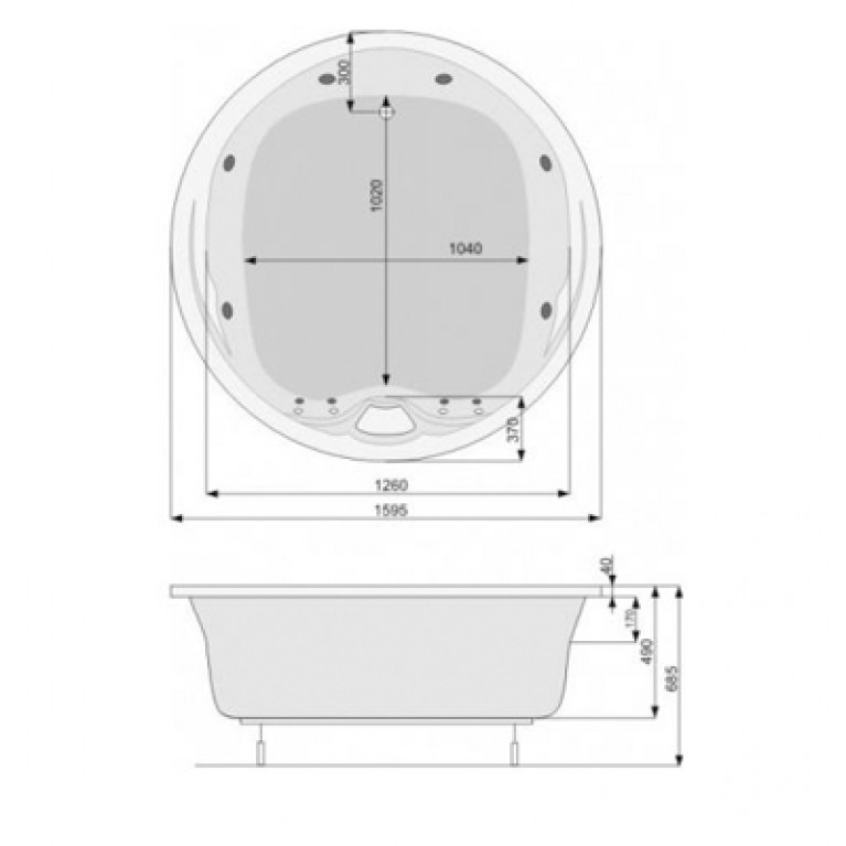 ATLANTYDA 160 ванна , система Economy 1 стандарт, каскад белый, фото 2